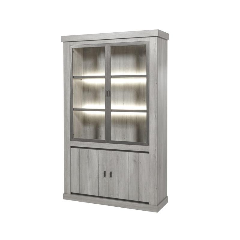 Argentier 4 portes à LEDs bois chêne gris clair - Univers salle à Manger : Tousmesmeubles
