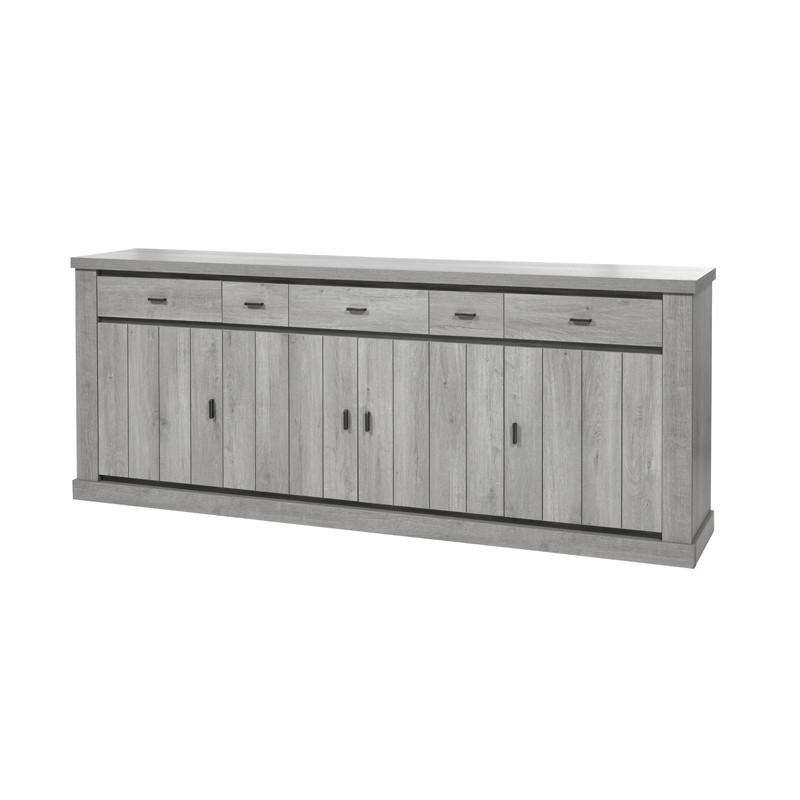 Buffet 4 portes 3 tiroirs moderne bois chêne gris clair lambris - Univers Salle à Manger : Tousmesmeubles