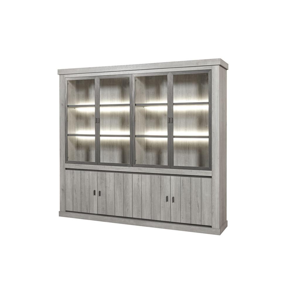 Bibliothèque 8 portes à LEDs bois chêne gris clair lambris moderne - Univers Salon et Bureau : Tousmesmeubles