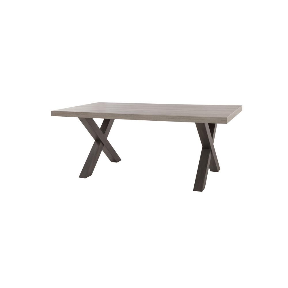 Table de repas 185 cm pied croix bois gris clair contemporain - Univers Salle à Manger : Tousmesmeubles