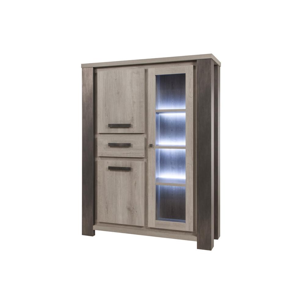 Argentier 3 portes 1 tiroirs à LEDs bois chêne gris clair moderne - Univers Salle à Manger : Tousmesmeubles
