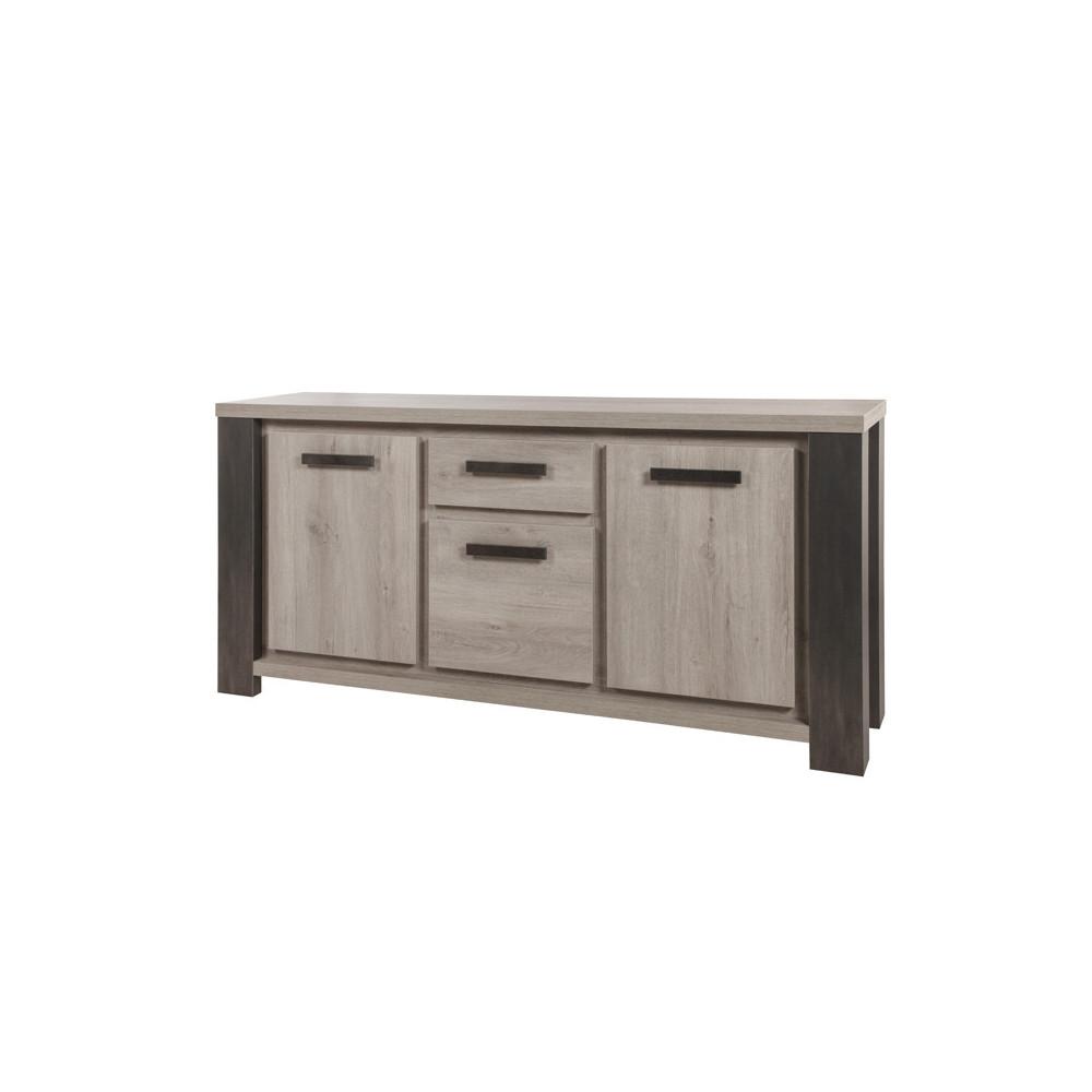 Buffet 3 portes 1 tiroir bois chêne gris clair moderne industriel - Univers Salle à Manger : Tousmesmeubles