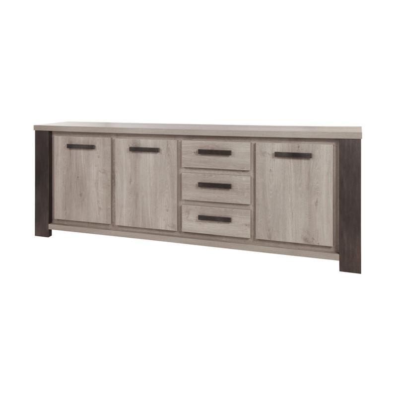 Buffet 3 portes 3 tiroirs industriel contemporain bois chêne gris - Univers Salle à Manger : Tousmesmeubles