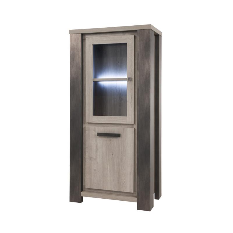 Vitrine 2 portes à LEDs industriel bois chêne gris - Univers Salle à Manger : Tousmesmeubles
