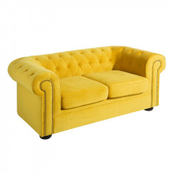 Canapé 2 places Chesterfield velours Jaune - AUDREY