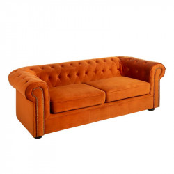 Canapé 2 places Chesterfield velours Orange - AUDREY