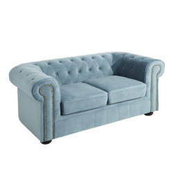 Canapé 2 places Chesterfield velours Bleu clair - AUDREY
