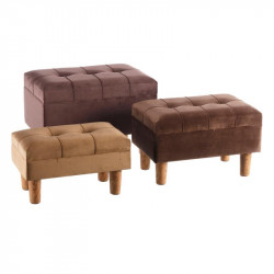 Trio de poufs coffres velours Marron - GUNTHER