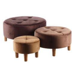 Trio de poufs coffres velours Marron - GUNTHER n°2