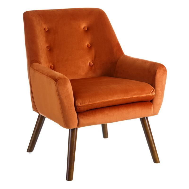Fauteuil Velours Orange - PHOEBE n°2