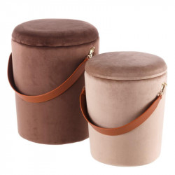 Duo de poufs coffres Velours Marron - AMANDA n°1