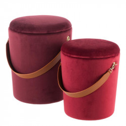 Duo de poufs coffres Velours Rouge - AMANDA n°1