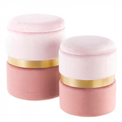 Duo de poufs coffres Velours Rose - AMANDA n°2
