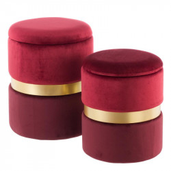 Duo de poufs coffres Velours Rouge - AMANDA n°2