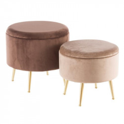 Duo de poufs coffres Velours Marron - AMANDA n°3