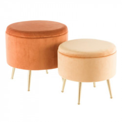 Duo de poufs coffres Velours Orange - AMANDA n°3