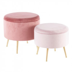 Duo de poufs coffres Velours Rose - AMANDA n°3