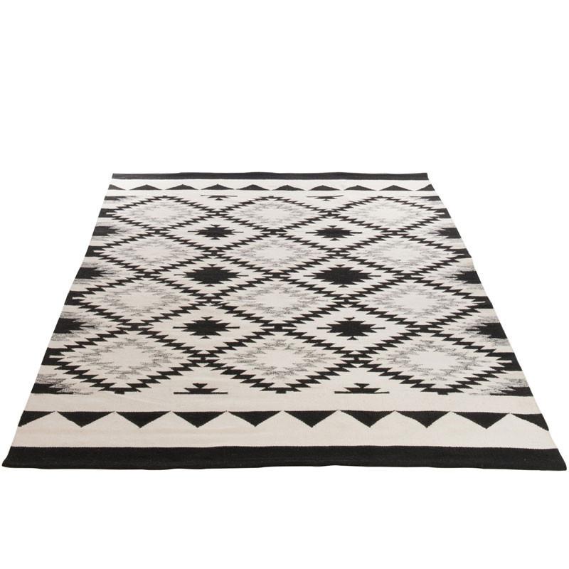 Tapis Ethnique Coton noir/blanc - GONZA