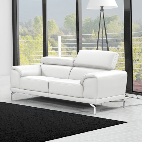 canap 2 places cuir v ritable blanc albus univers du salon. Black Bedroom Furniture Sets. Home Design Ideas