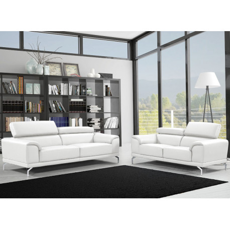 canap 3 places canap 2 places cuir blanc albus. Black Bedroom Furniture Sets. Home Design Ideas