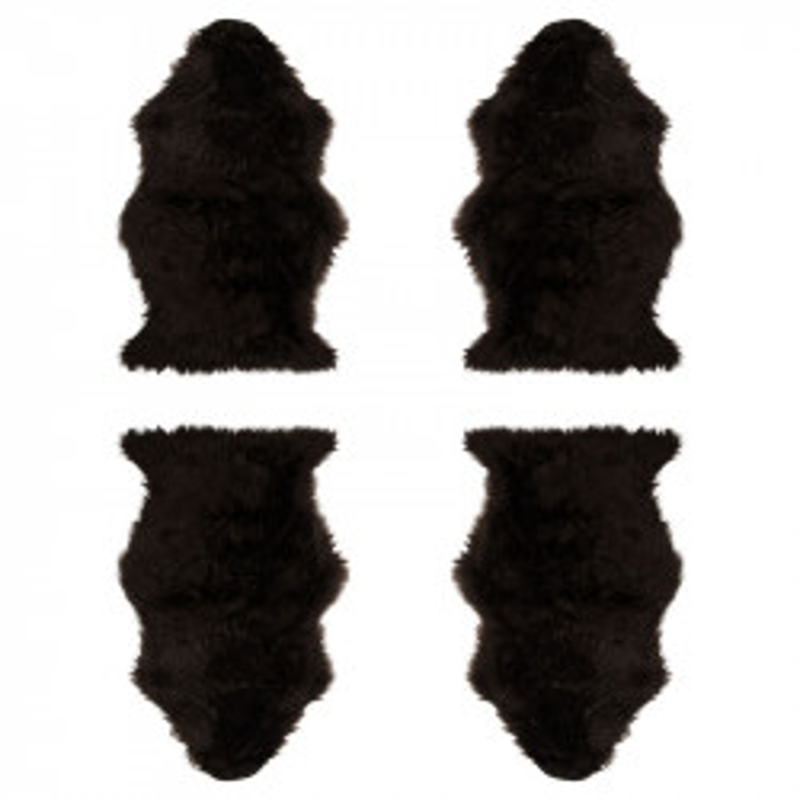 Quatuor de Tapis Fausse Fourrure marron  - GINA