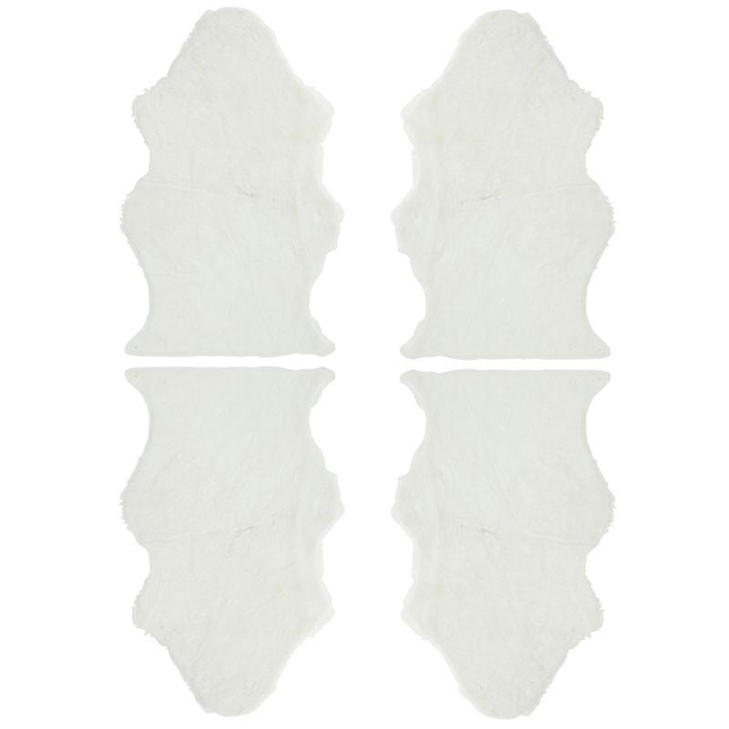 Quatuor de Tapis Fausse Fourrure blanc N°2  - GINA
