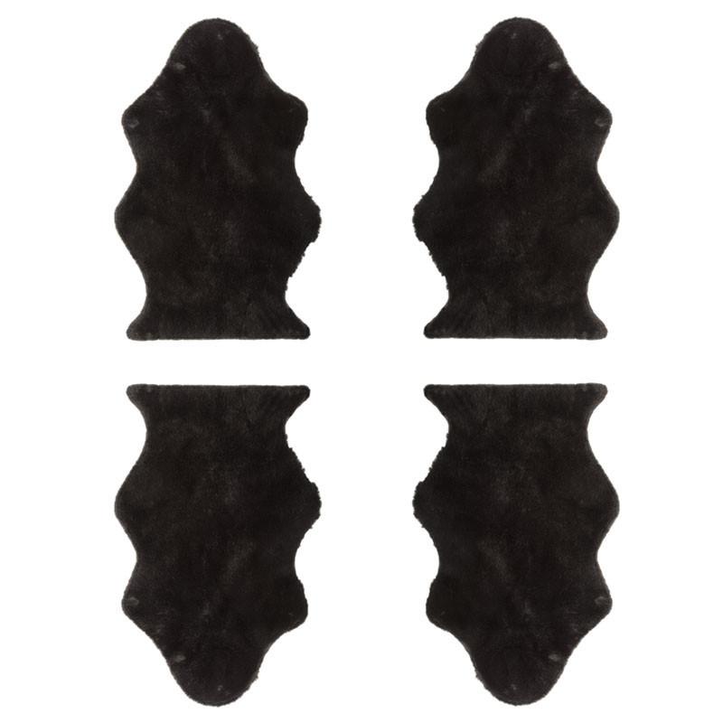 Quatuor de Tapis Fausse Fourrure noir - GINA