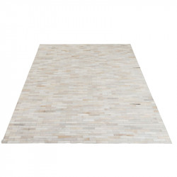Tapis rectangulaire Cuir blanc - LEFRIN