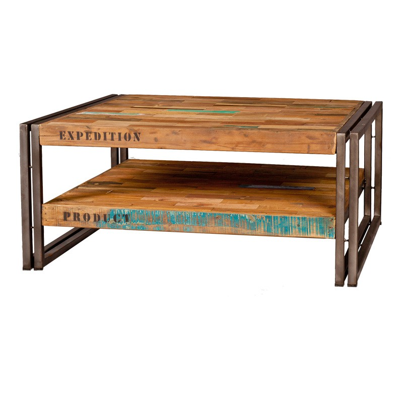 Table basse carr e 80 cm industry univers du salon tousmesmeubles - Table basse carree en bois ...
