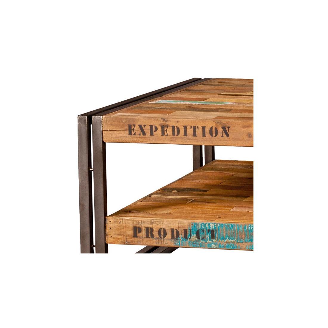 table basse carr e 80 cm industry univers du salon tousmesmeubles. Black Bedroom Furniture Sets. Home Design Ideas