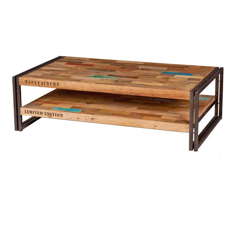 Table basse en bois 120 cm industry univers salon for Table salon bois et fer