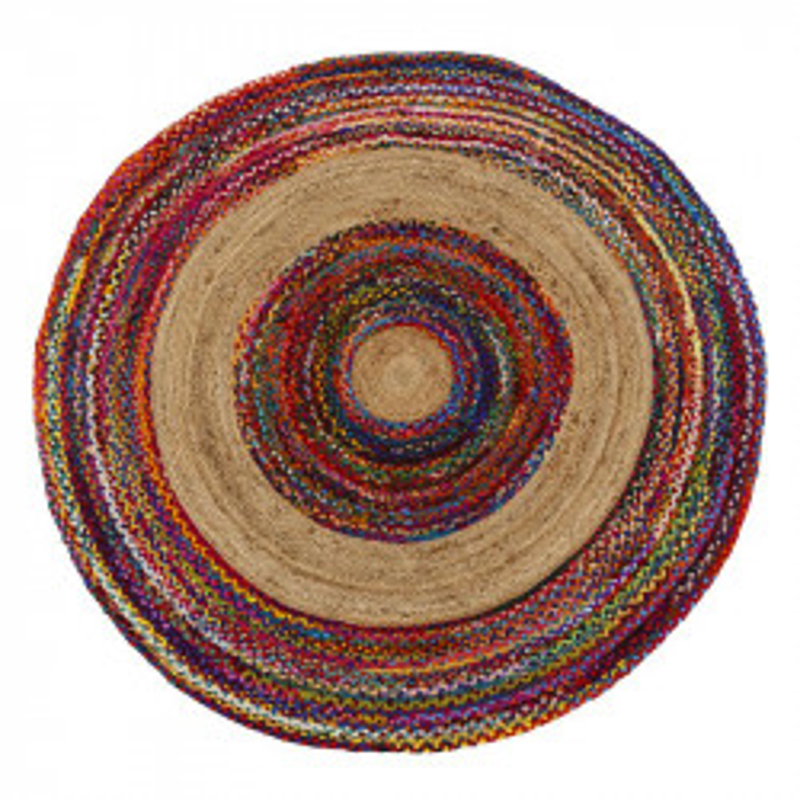 Tapis multicolore Jute/Coton 180*180 - SOTALI