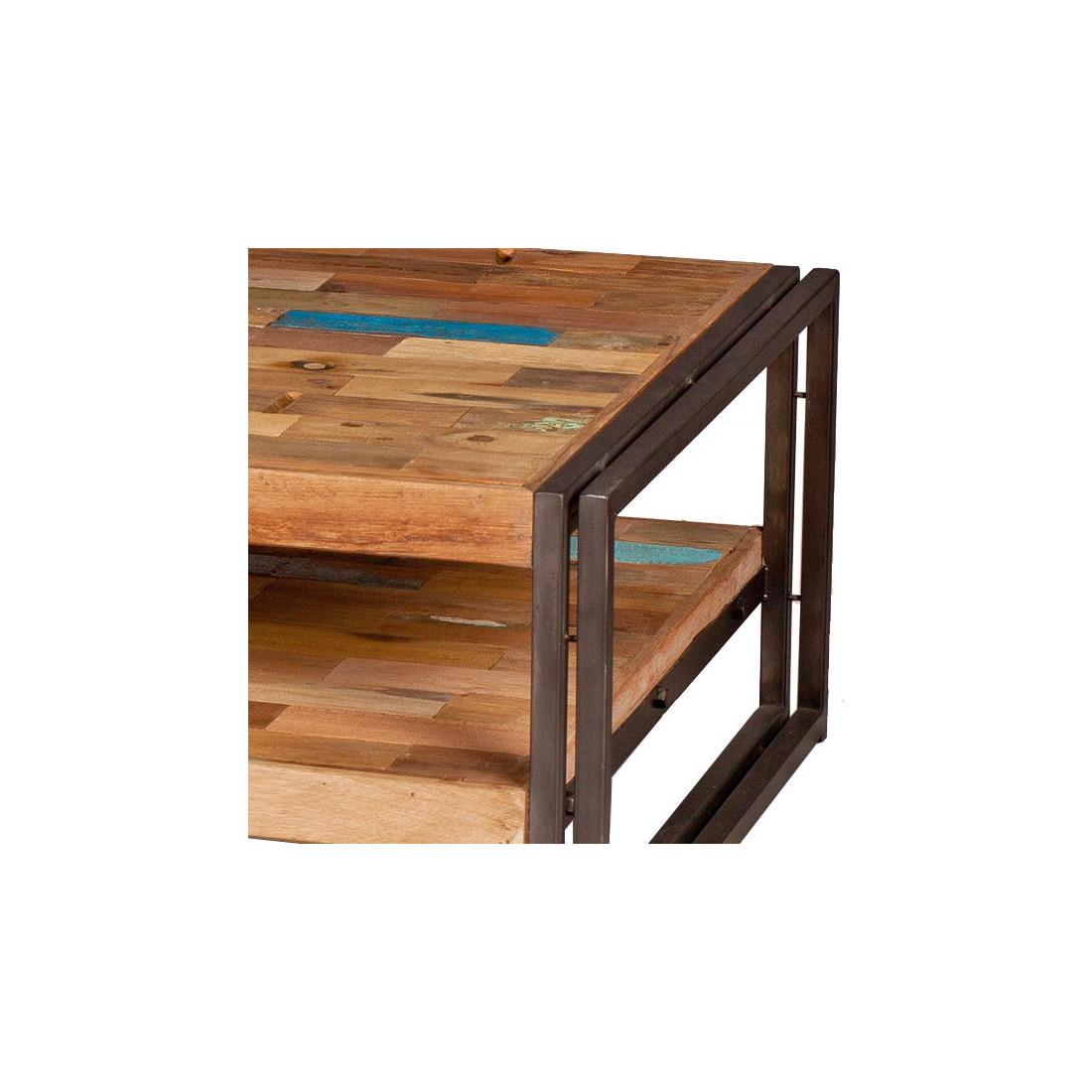 table basse en bois 120 cm industry univers salon tousmesmeubles. Black Bedroom Furniture Sets. Home Design Ideas