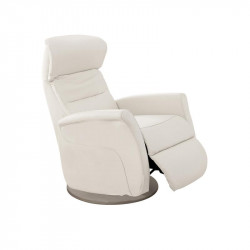 Fauteuil de relaxation Cuir Blanc - LEOPOLD n°3