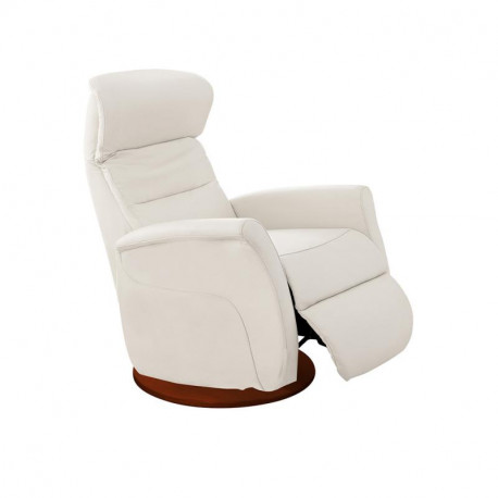 Fauteuil de relaxation Cuir Blanc - LEOPOLD n°5