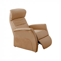 Fauteuil de relaxation Cuir Camel - LEOPOLD n°1