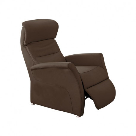 Fauteuil de relaxation Cuir Chocolat - LEOPOLD n°1