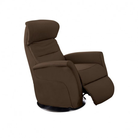 Fauteuil de relaxation Cuir Chocolat - LEOPOLD n°4