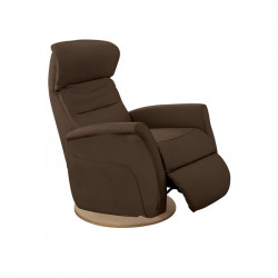 Fauteuil de relaxation Cuir Chocolat - LEOPOLD n°6