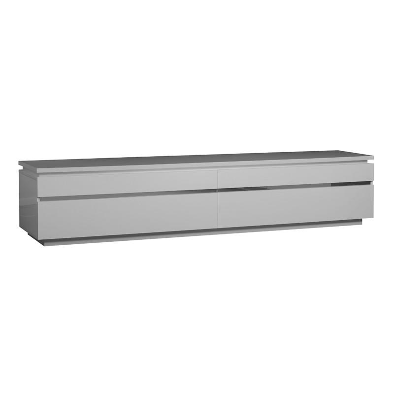Meuble TV laque blanche 2 portes abattantes - CARMEN - L 220 x l 50 x H 45