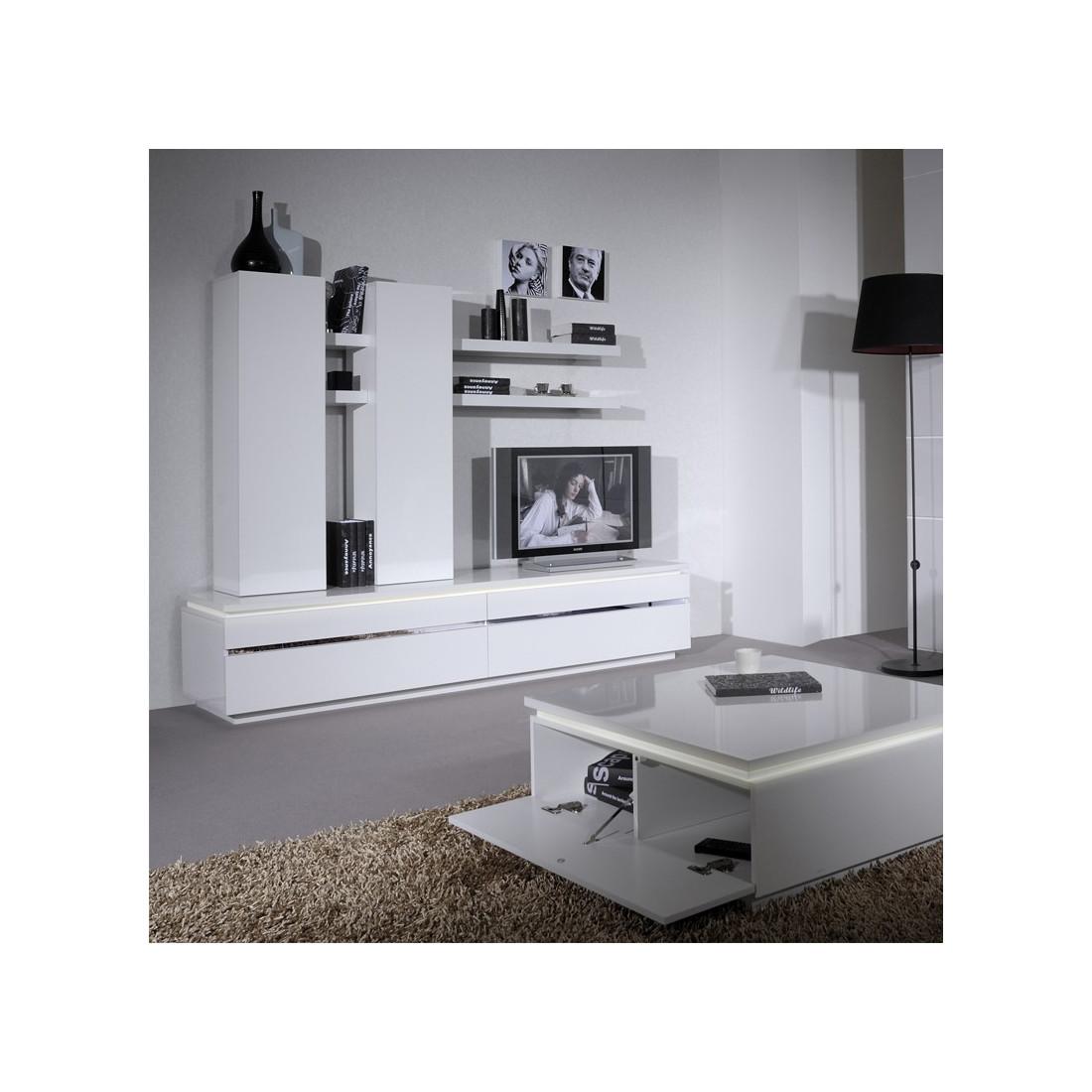 Meuble tv laque blanche 2 portes abattantes carmen univers salon - Laque meuble ...