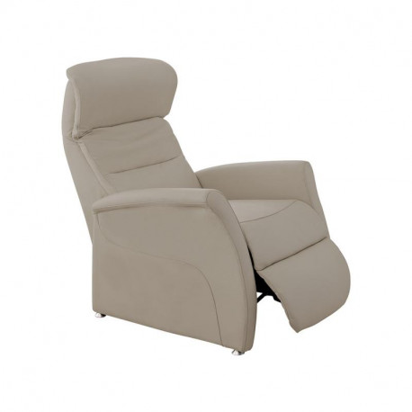 Fauteuil de relaxation Cuir Taupe - LEOPOLD n°1