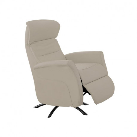 Fauteuil de relaxation Cuir Taupe - LEOPOLD n°2