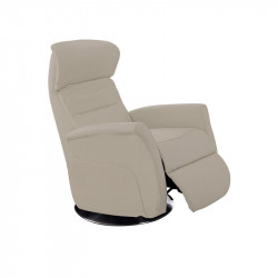 Fauteuil de relaxation Cuir Taupe - LEOPOLD n°4