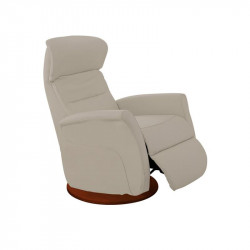 Fauteuil de relaxation Cuir Taupe - LEOPOLD n°5
