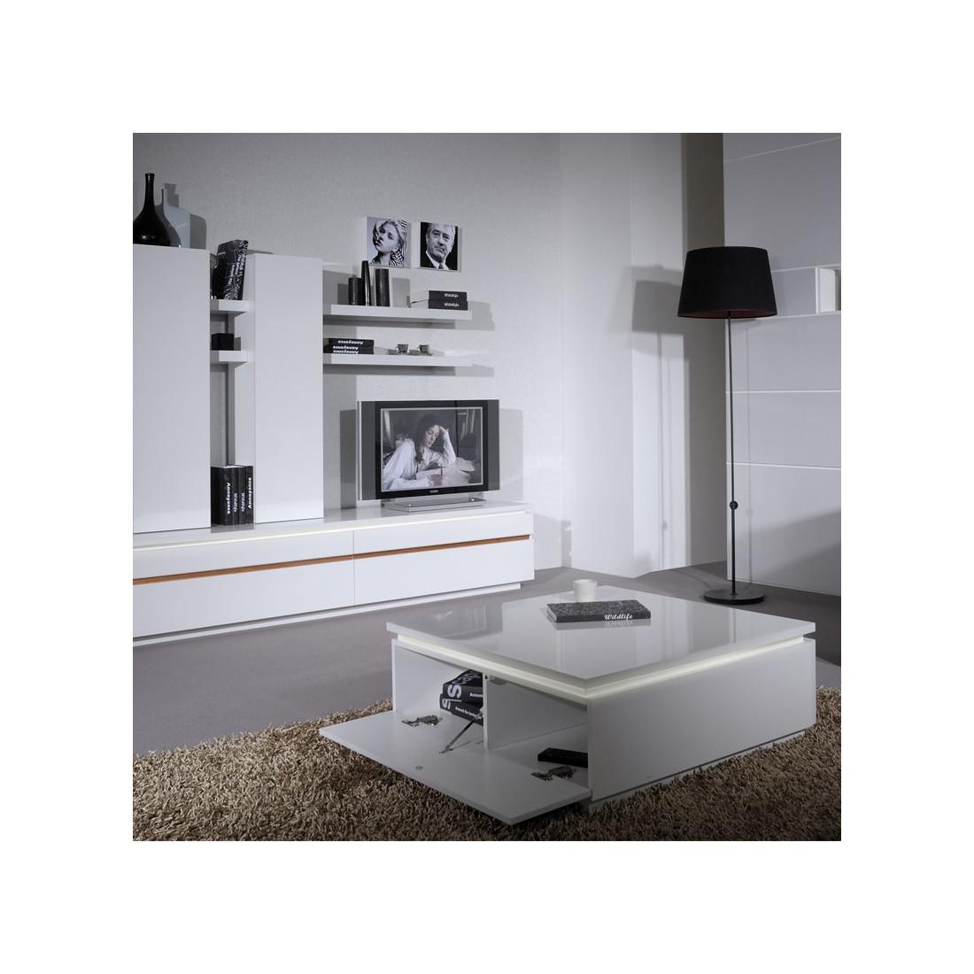 Table basse laque blanche CARMEN - Univers Salon : Tousmesmeubles