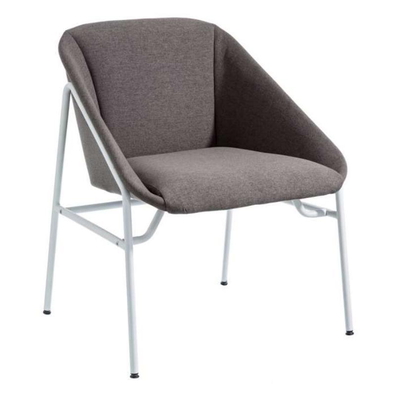 Chaise avec accoudoirs tissu Gris foncé - BADIANE