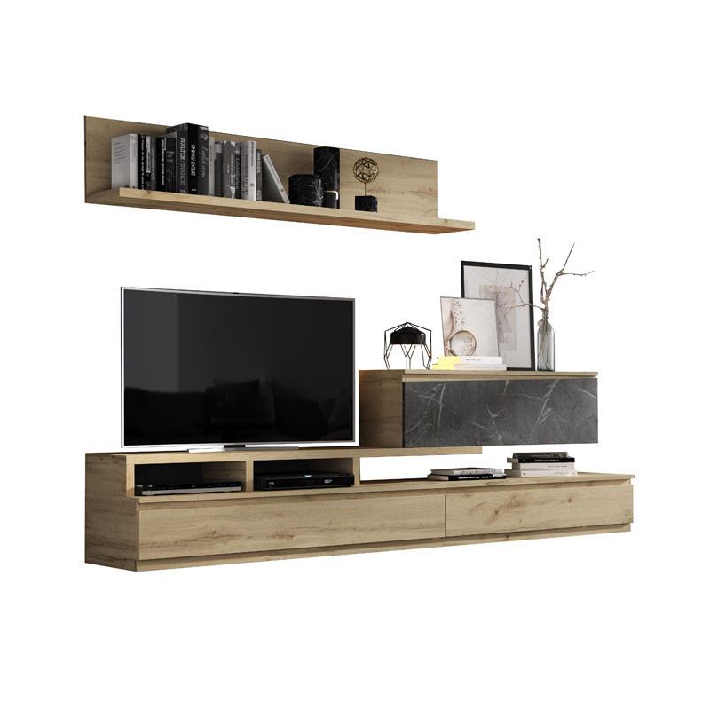 Composition TV Chêne blond/Marbre noir - CAMELIA
