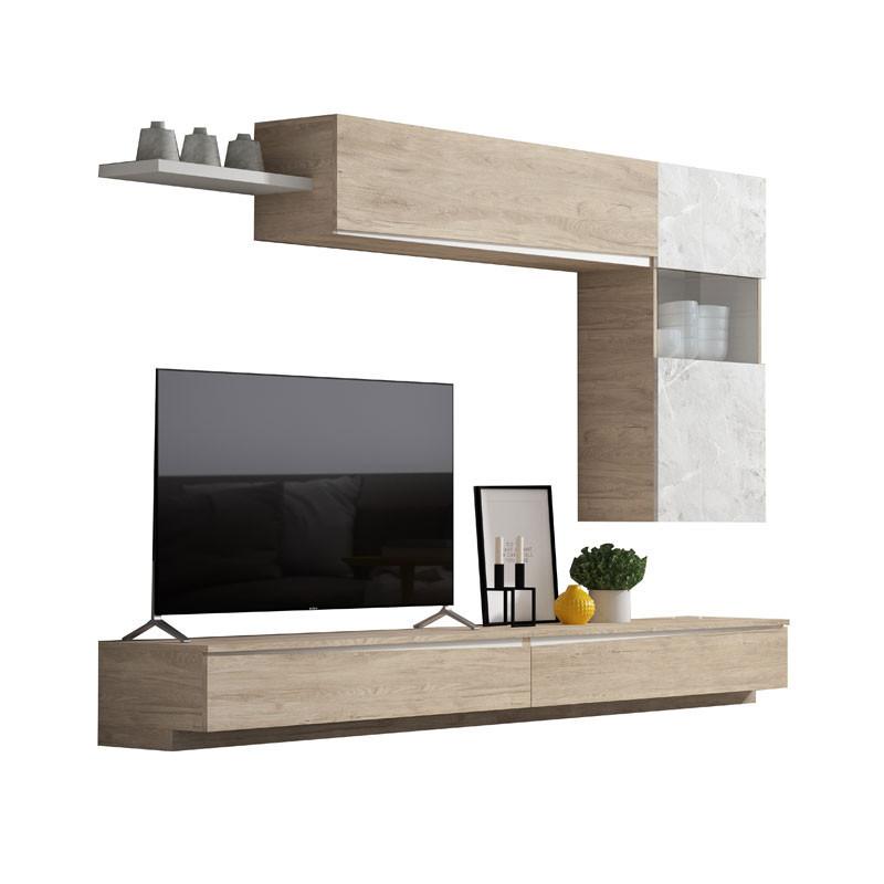 Composition TV Bois clair/Marbre blanc - CAMELIA