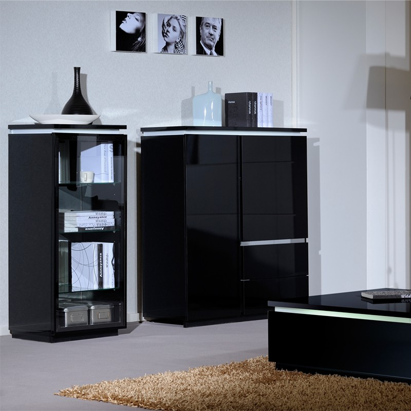 armoire de salon laque noire n 1 carmen univers salle. Black Bedroom Furniture Sets. Home Design Ideas